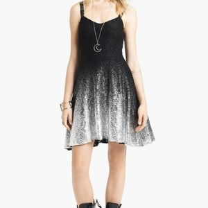 Free People XS black silver foil ombre dress NWT